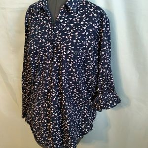 Sonoma Tops - Shirt top Button 2x 2XL Blue Pink Bird roll tab